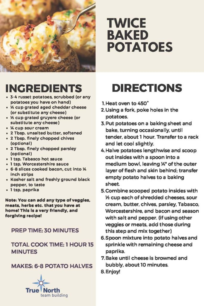 twice baked potato recipe from true north team building